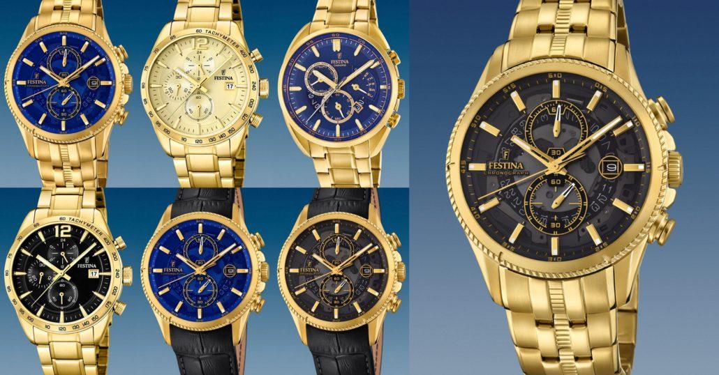 Pánske zlaté luxusné hodinky Festina  0fecb9d4018