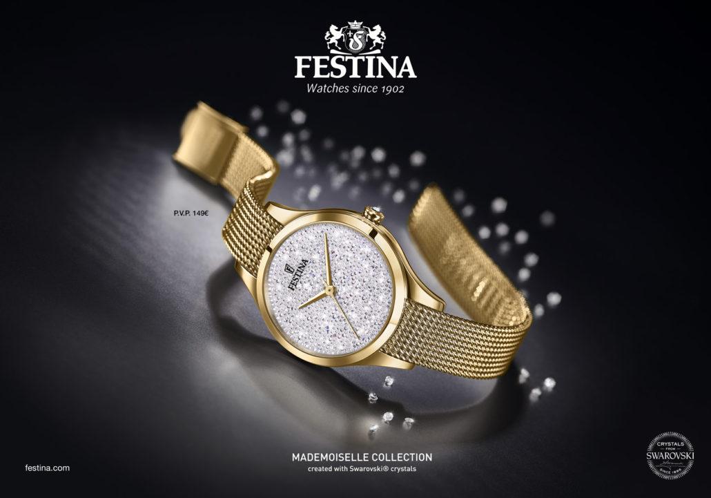 2de259409 Model hodiniek Festina Mademoiselle Swarovski F20337 je vo farbe žltého  zlata. Oceľový náramok milánskeho typu sa prispôsobí na každé zápästie  nakoľko je ...